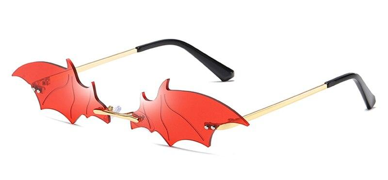 Drag-Sunglasses - Bat Wings-Red-Gold-The Drag Room