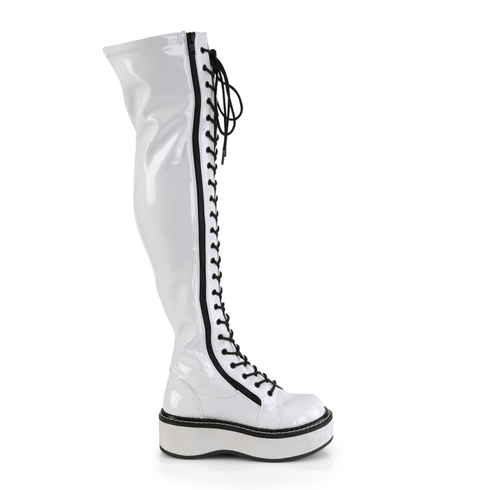 Demonia EMI375/W Drag Boots by Pleaser, available to buy at The Drag Room