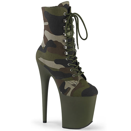 Pleaser FLAM1020CAMO/GRN/DOL Drag Platform Shoes by Pleaser, available to buy at The Drag Room