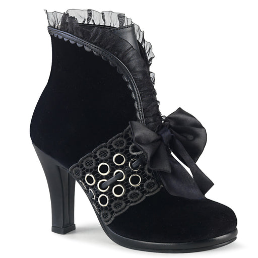 Demonia GLAM110/BVEL-VL Drag Boots by Pleaser, available to buy at The Drag Room