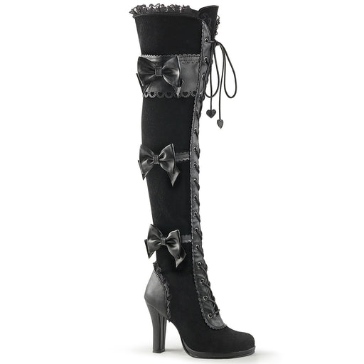 Demonia GLAM300/BVL-VEL Drag Boots by Pleaser, available to buy at The Drag Room