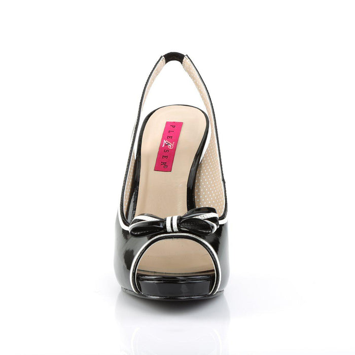 Pleaser Pink Label PINUP10/B-W Drag Platform Shoes by Pleaser, available to buy at The Drag Room