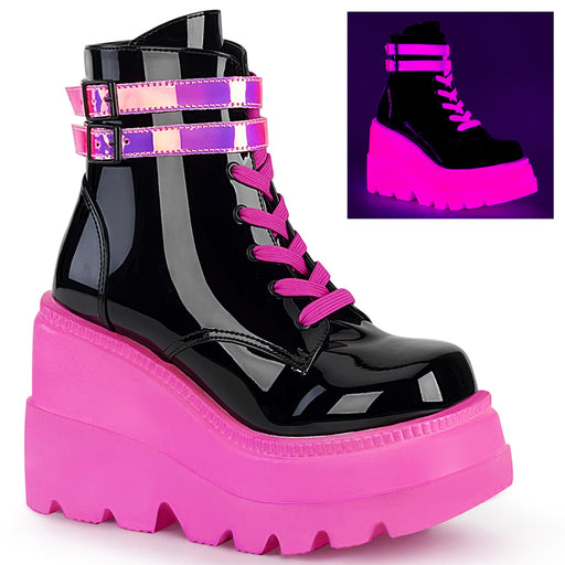 Demonia SHA52/BPT-UVNPNK Drag Boots by Pleaser, available to buy at The Drag Room