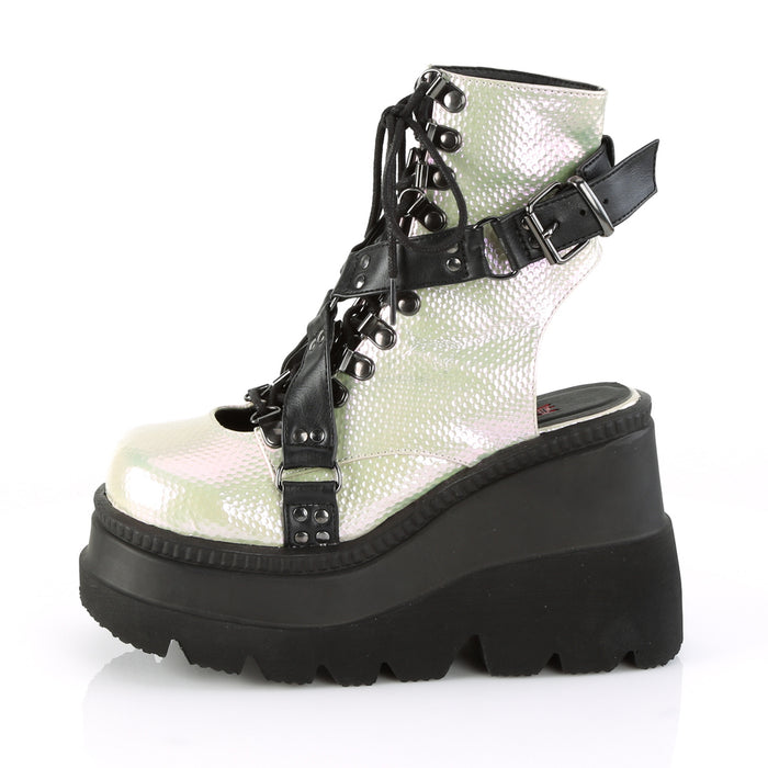 Demonia SHA56/GRN-BVL Drag Boots by Pleaser, available to buy at The Drag Room