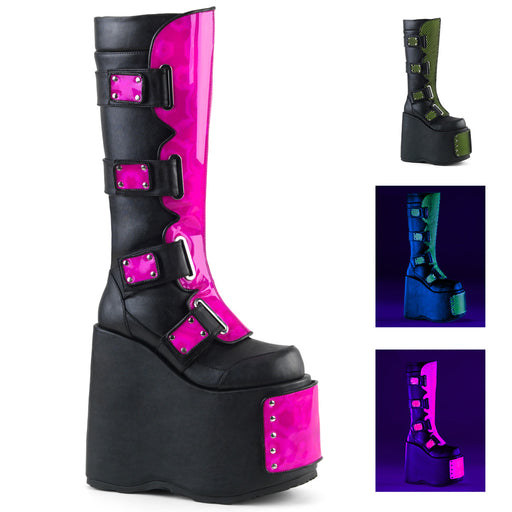 Demonia SLAY310/BVL-NPNK-NLM Drag Boots by Pleaser, available to buy at The Drag Room