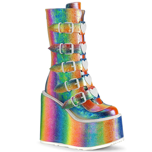 Demonia SWI230/RBOWIRIVL Drag Boots by Pleaser, available to buy at The Drag Room