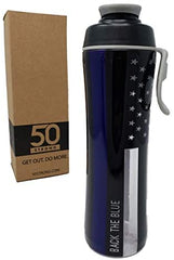 Back The Blue Water Bottle - BPA Free - USA Made - 24 oz.