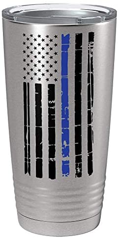 Distressed Black Thin Blue Line Flag Police on 20 oz Stainless Steel  Travel Mug
