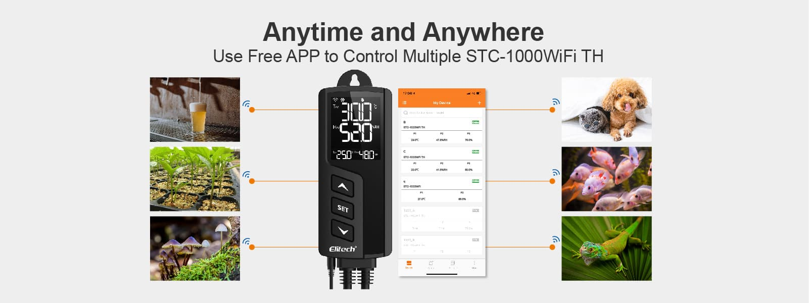 Elitech STC-1000WiFi TH Temperature and Humidity Controller Use Free APP to Control Multiple Device - Elitech UK