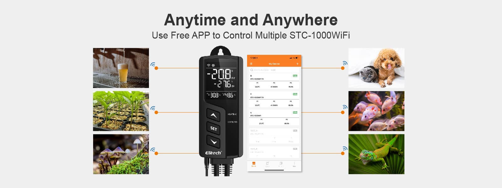 Elitech STC-1000WiFi Thermostat Use Free APP to Control Multiple Devices - Elitech UK