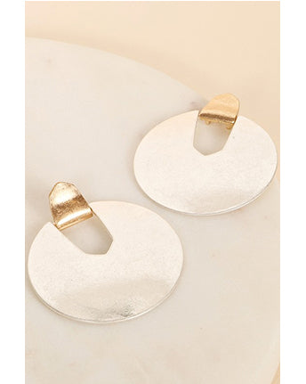 Round Metal Post Earrings