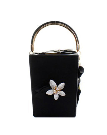 Black Faux Leather Pearl Flower Mini Bag