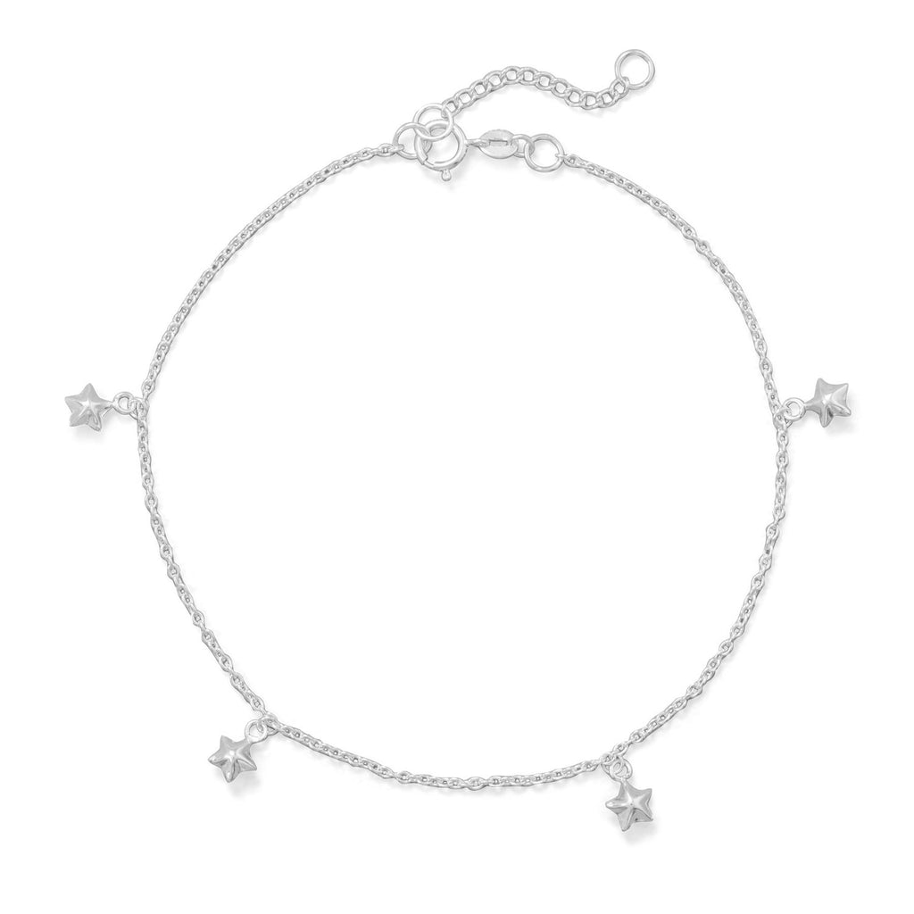 "9""+1"" Polished 5 Star Charm Anklet"