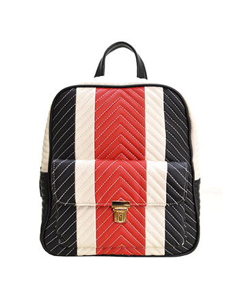 Faux Leather Striped Backpack