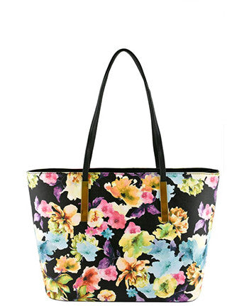 Faux Leather Floral Tote