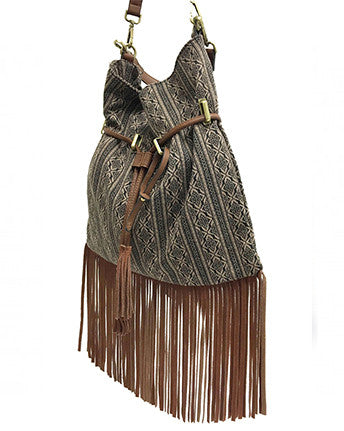 Aztec-Print Leather Fringe Trim Hobo