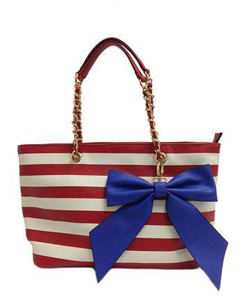 Bow Accented Stripe Tote