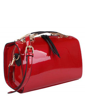 Faux Patent Leather Handbag