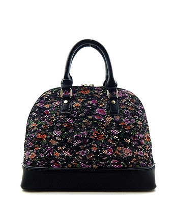 Faux Leather Floral Lace Handbag