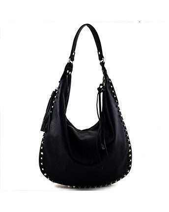Faux Leather Studded Hobo
