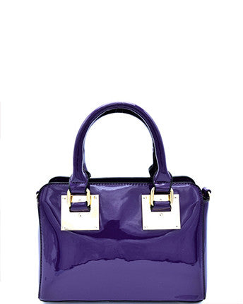 Faux Patent Leather Hardware Accented Small Satchel