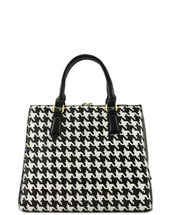 Faux Patent Leather Houndstooth Handbag