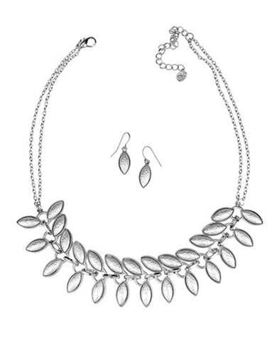 Multi Row Leaf Necklace Set
