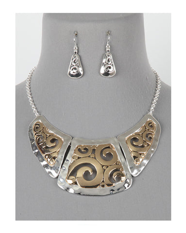 Two-Toned Textured Filigree Necklace Set