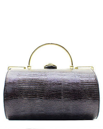 Faux Patent Leather Snake-Print Clutch - Black
