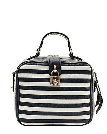 Faux Leather Boxy Striped Crossbody