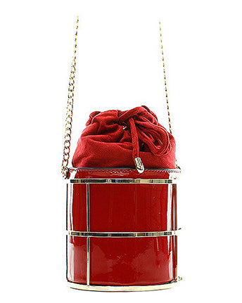 Red Faux Leather Patent Bucket Messenger Bag