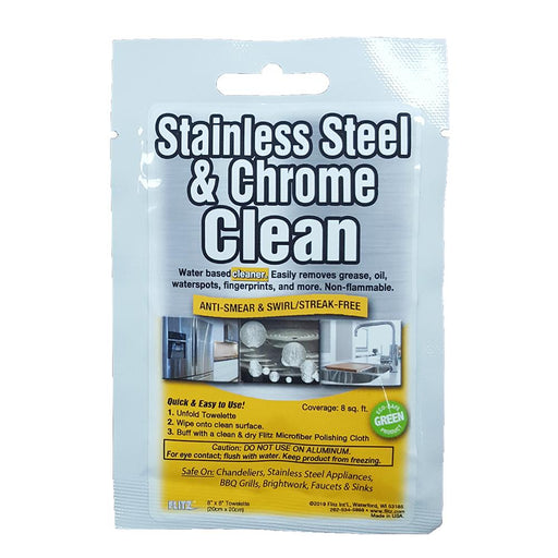 "Flitz Stainless Steel  Chrome Cleaner Degreaser 8"" x 8"" Towelette Packet [SP 01501] - Off The Grid Collective"