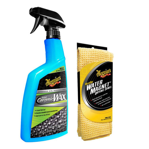"Meguiars Hybrid Ceramic Wax w/Water Magnet Microfiber Drying Towel - 22"" x 30"" [G190526-X2000KIT] - Off The Grid Collective"