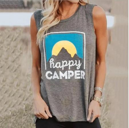 Happy Camper Sleeveless Summer Top - Off The Grid Collective
