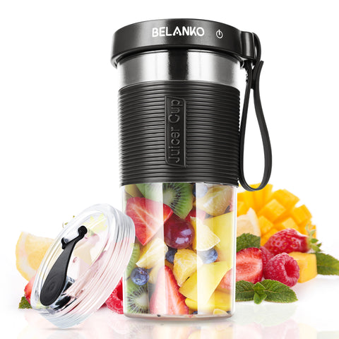 BELANKO 320/600 ML Portable Blender with USB Rechargeable - Black Gray