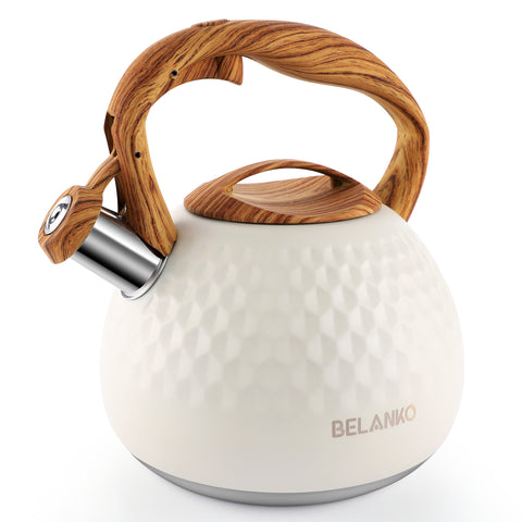 BELANKO 2.7 Quart Whistling Tea Kettle - Milk White
