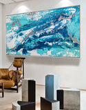 Blue and Silver Abstract Wall Art