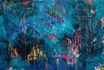 Blue and Red Abstract Wall Art