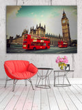 London the UK Red Bus in Motion Wall Art