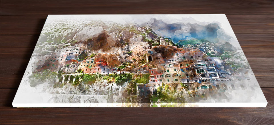 Mountain and City Watercolour