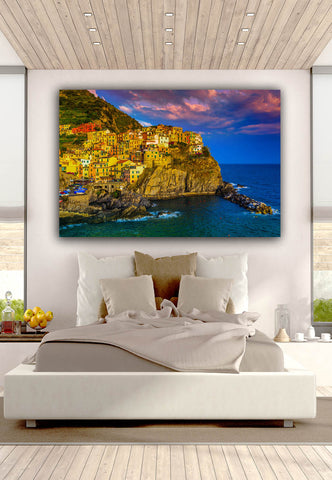 View of Manarol at Sunset Wall Art