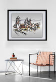 City Landmarks Sketch Wall Art