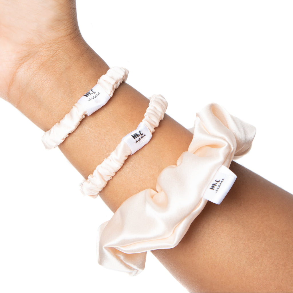 Knot Too Tight (TRIO Cream) 100% Silk Scrunchies