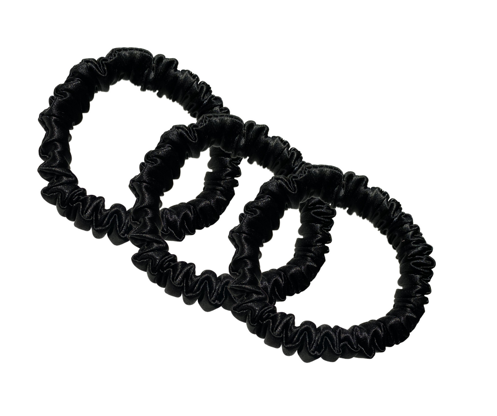 100% Silk Scrunchies Mini Trio (BLACK)