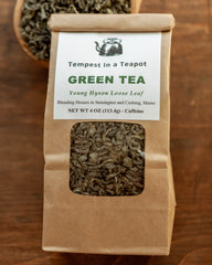 Green Tea - 4 oz loose tea - Young hyson (high quality) tea leaves with a full-bodied, pungent taste and is golden in color.