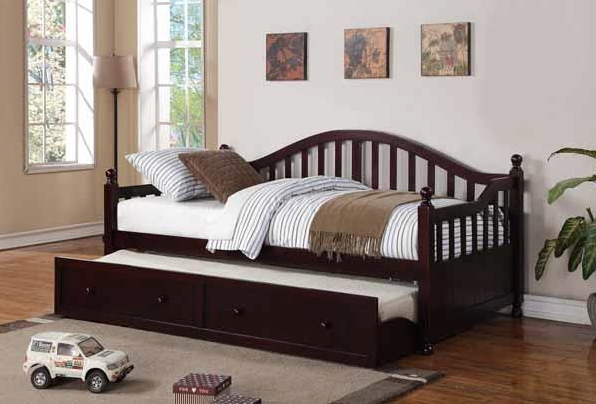 Twin Daybed with Trundle in Cappuccino Finish