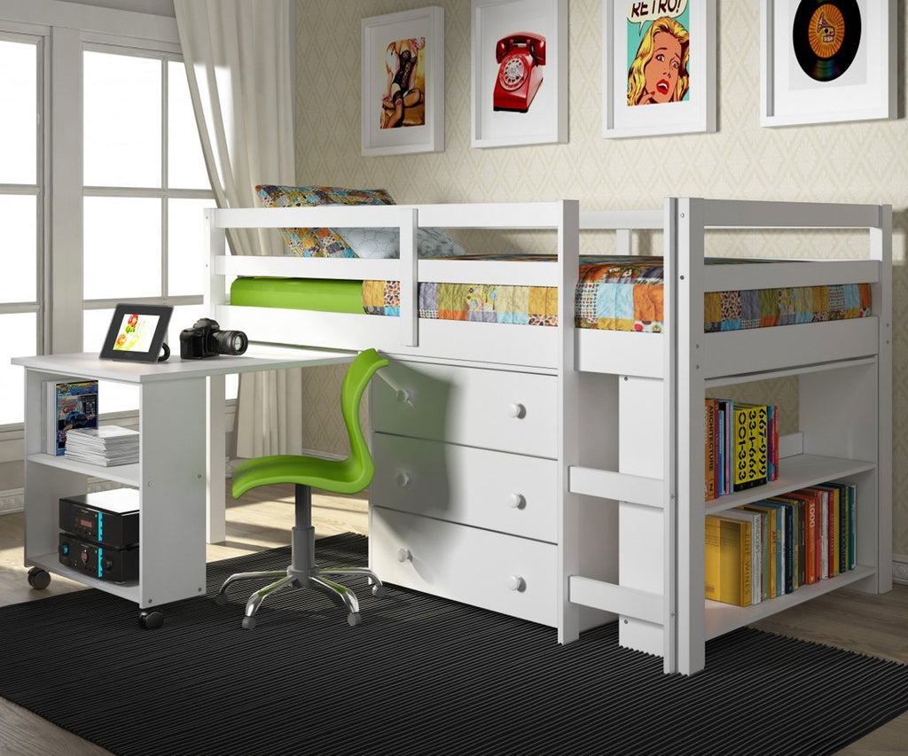 Picture of: Low Loft Solid Wood Junior Loft Bed With Desk And Storage Free Shippin Bedz