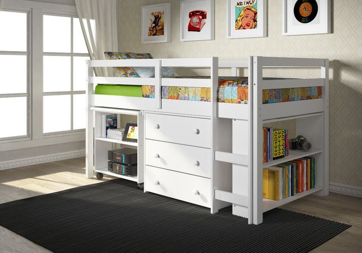 Low Loft Solid Wood Junior Loft Bed With Desk And Storage