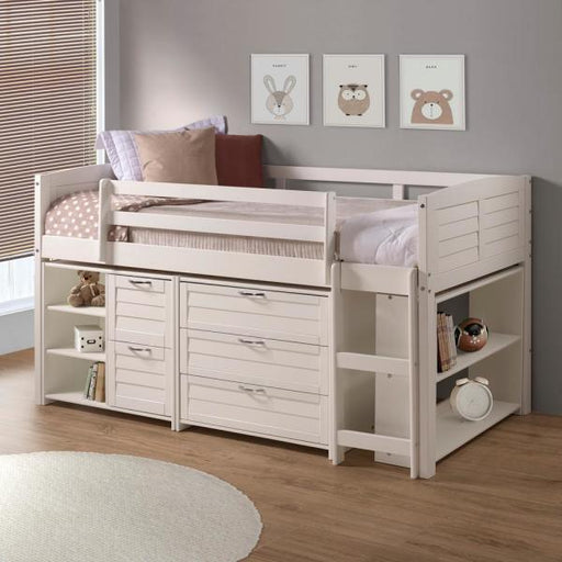 Junior Loft White Louver Complete Twin Bed FREE SHIPPING