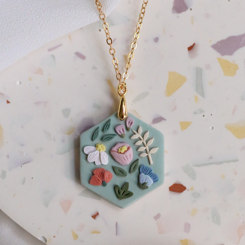 Garden Bloom Hex Necklace in Celadon